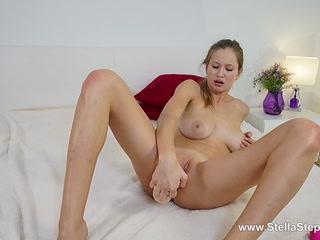 Blonde sucks rubber cock like lollipop