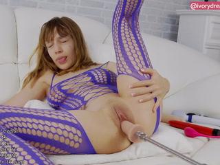 Pussy Fuckmachine and Clit Rubbing - Purple Mesh Bodysuit