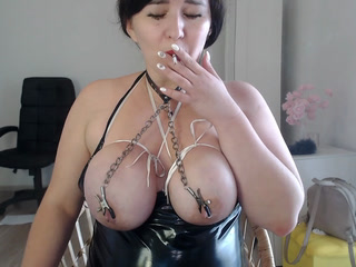 Nipple clamps, tied tits