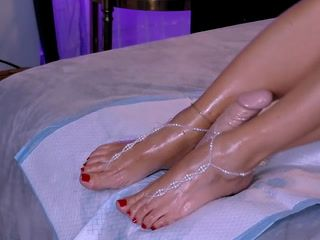 Footjob - oily feet &dildo