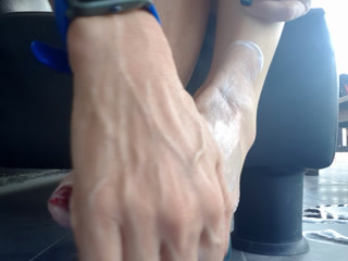 Rubbing cream on my feet