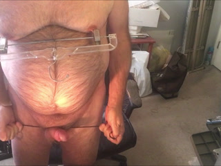 balls tied hard pulled through under ass and whacked