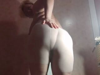 Pisssing in white and black pantyhos